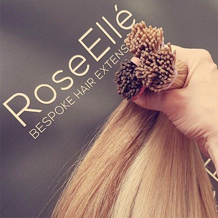 Bundle of hair with RoseEllé backdrop