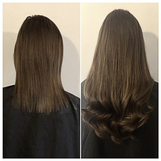 Brown hair added length and thickness extensions