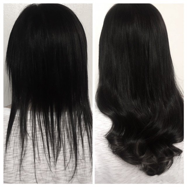 Black hair extensions added for length and thickness