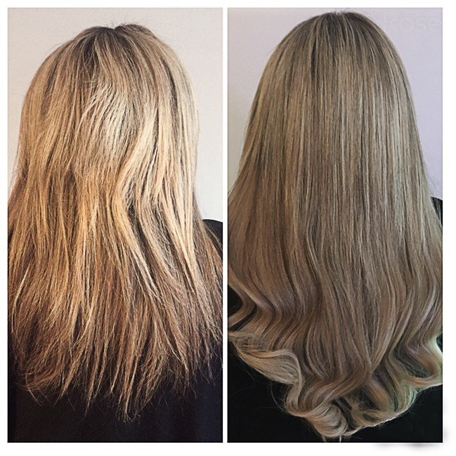 Long blonde hair extensions before and after
