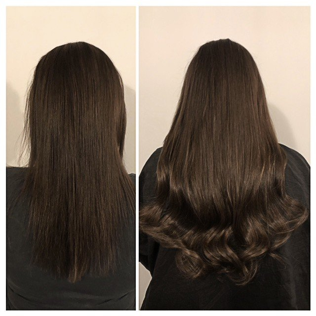 Dark brown hair before and after