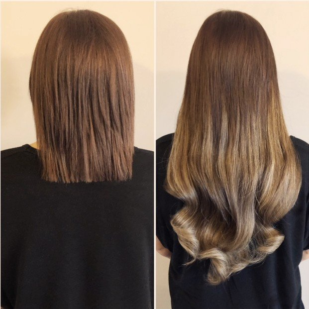 Short to long auburn extensions before and after